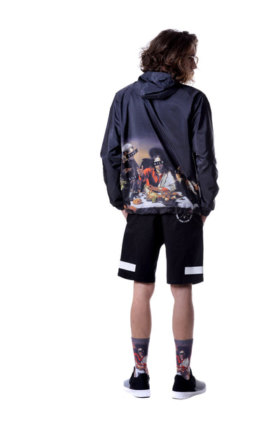 Fools Day Dinning Print Pullover Windbreaker (Men)