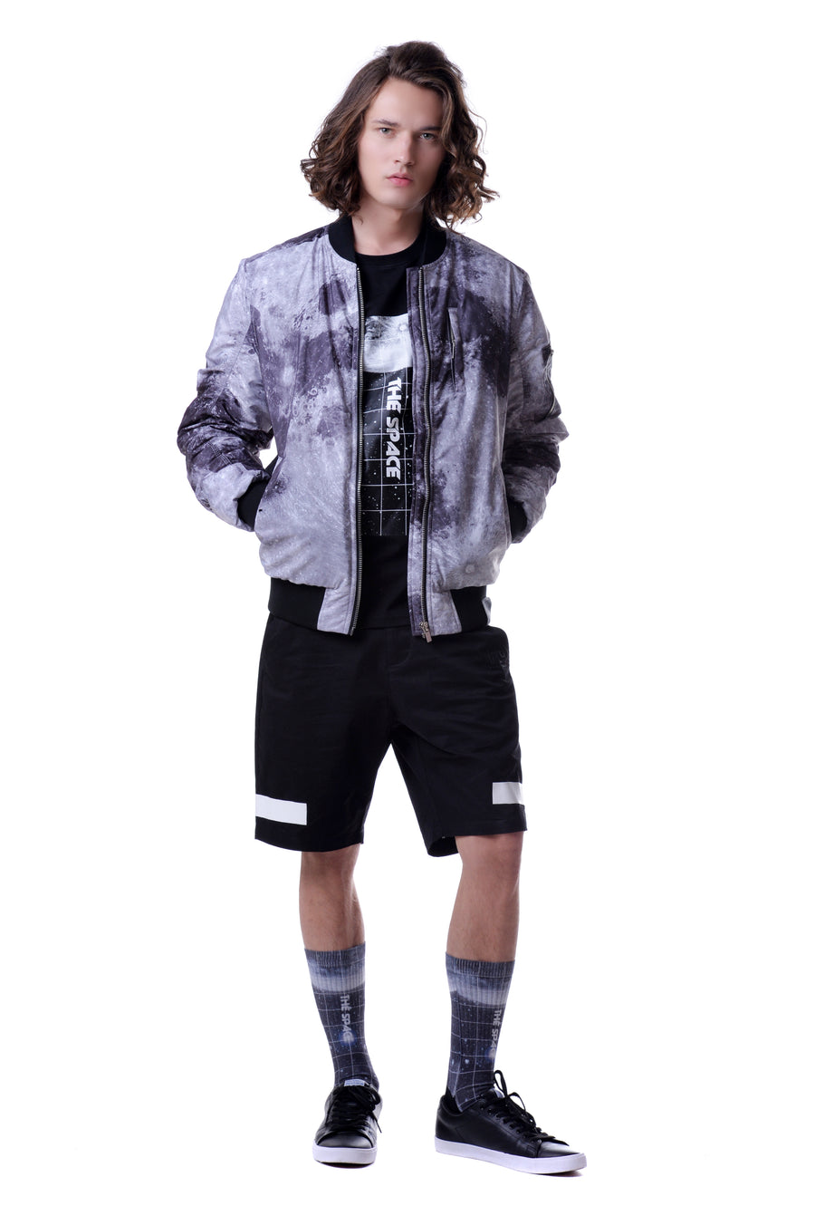 Fools Day Mono Tone Moon Overall Print Ma-1 Bomber Jacket (Men)
