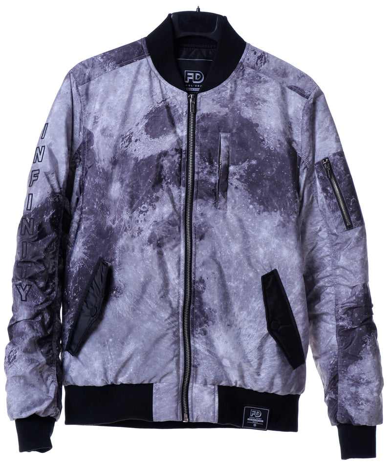 Fool's Day Mono Tone Moon Overall Print Ma-1 Bomber Jacket (Women)