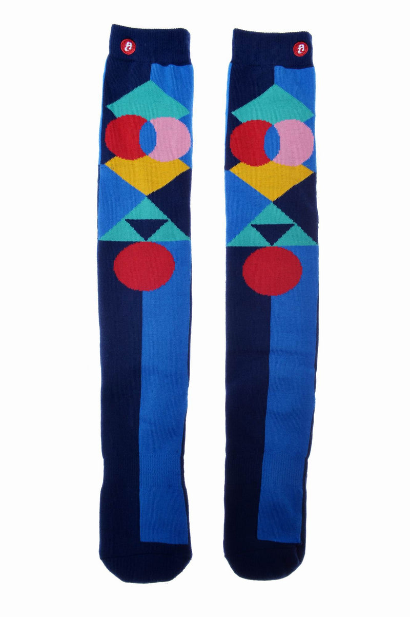 Mens Geometric Pop Blue Knee High Socks