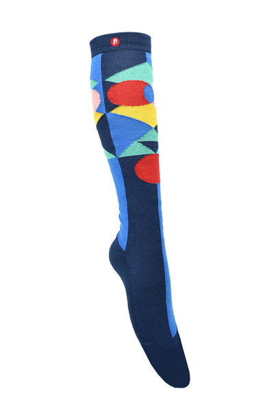 Men/ Womens Geometric Pop Blue Knee High Socks