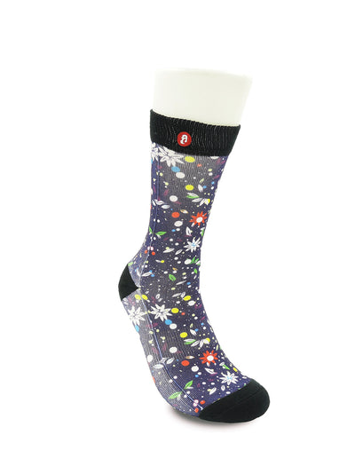 Mens Flying Flowers Novelty Crew Socks