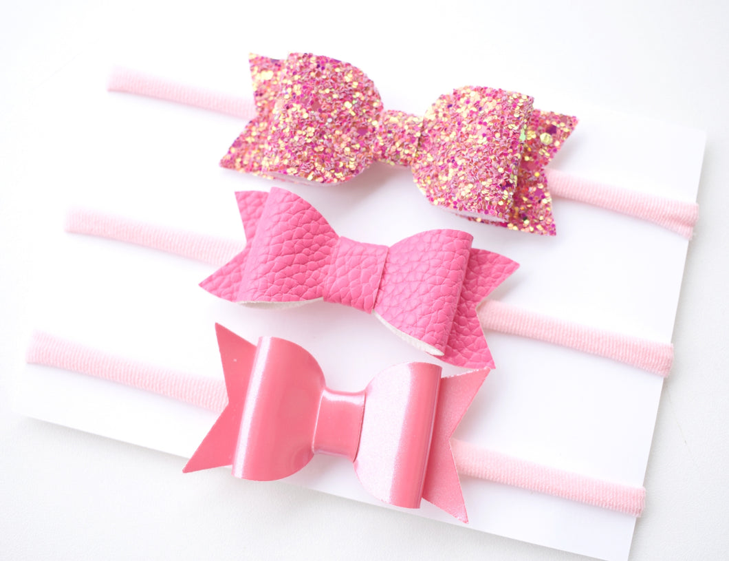 Charli- Pink glitter bow, leatherette bow, fringe clip, butterfly bow, personalised bow, rainbow bow, dolly hair bow, floral bow, shimmer bow, pretty bow , Bow Handmade Hairbow, handmade hair accessories, Sweet Adalyn Sweet Adalyn
