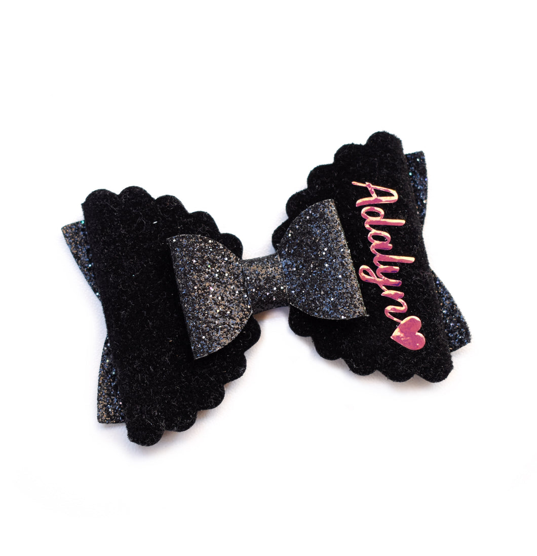 Personalised Bow- Black glitter bow, leatherette bow, fringe clip, butterfly bow, personalised bow, rainbow bow, dolly hair bow, floral bow, shimmer bow, pretty bow , Bow Handmade Hairbow, handmade hair accessories, Sweet Adalyn Sweet Adalyn