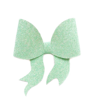 Lara- Light Green glitter bow, leatherette bow, fringe clip, butterfly bow, personalised bow, rainbow bow, dolly hair bow, floral bow, shimmer bow, pretty bow , Bow Handmade Hairbow, handmade hair accessories, Sweet Adalyn Sweet Adalyn