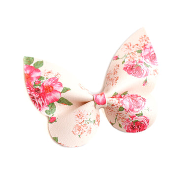 Holly- Cream Floral glitter bow, leatherette bow, fringe clip, butterfly bow, personalised bow, rainbow bow, dolly hair bow, floral bow, shimmer bow, pretty bow , Bow Handmade Hairbow, handmade hair accessories, Sweet Adalyn Sweet Adalyn