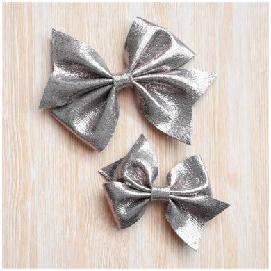 Addison- Metallic Silver glitter bow, leatherette bow, fringe clip, butterfly bow, personalised bow, rainbow bow, dolly hair bow, floral bow, shimmer bow, pretty bow , Bow Handmade Hairbow, handmade hair accessories, Sweet Adalyn Sweet Adalyn