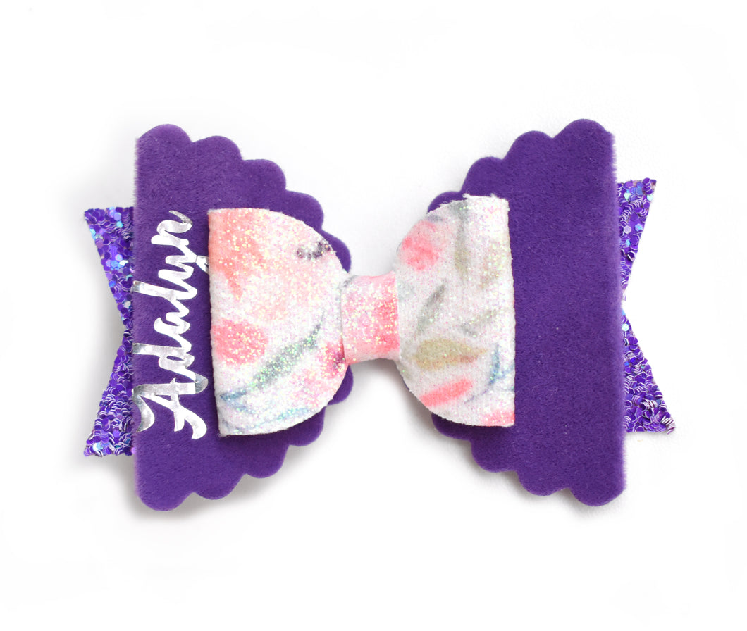 Personalised Bow- Purple glitter bow, leatherette bow, fringe clip, butterfly bow, personalised bow, rainbow bow, dolly hair bow, floral bow, shimmer bow, pretty bow , Bow Handmade Hairbow, handmade hair accessories, Sweet Adalyn Sweet Adalyn
