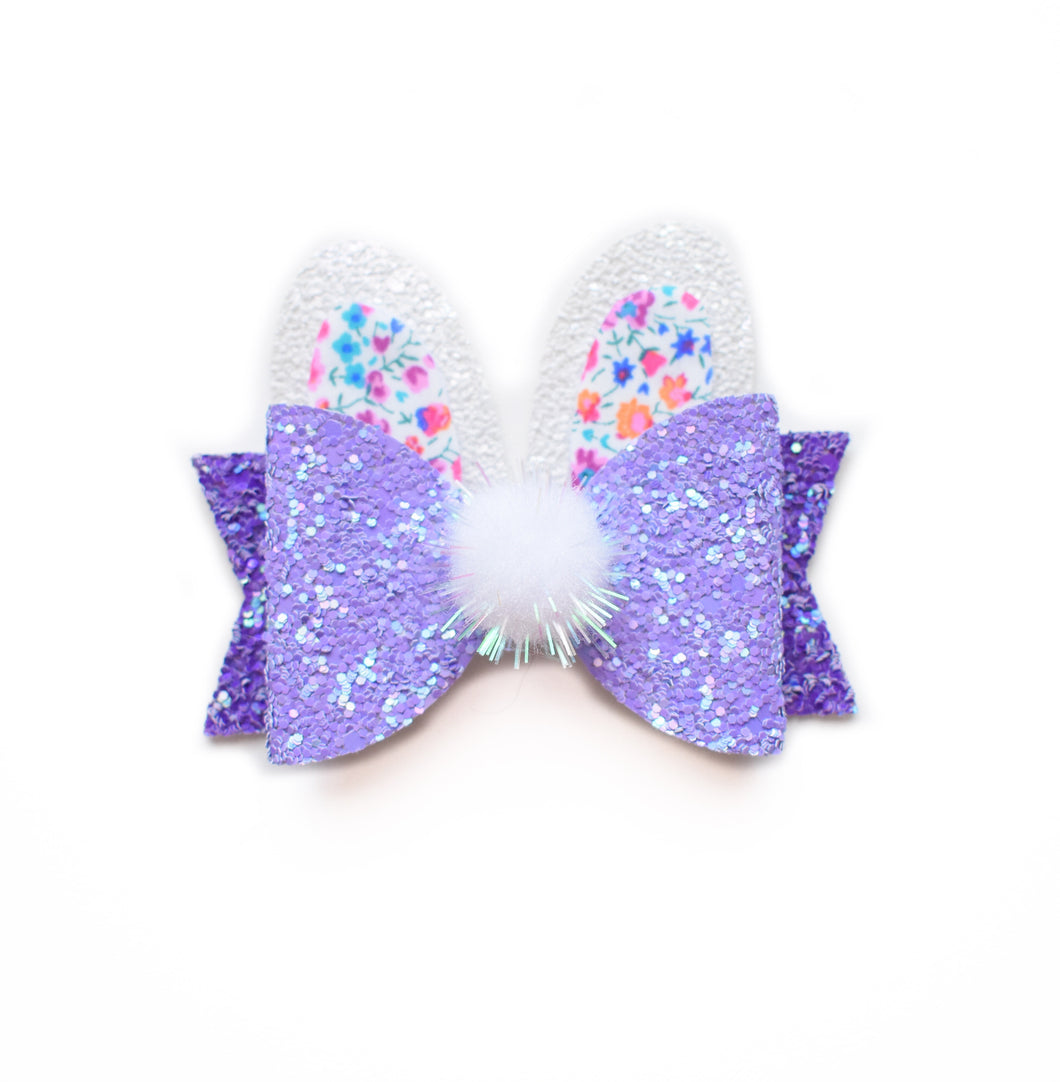 Purple Bunny glitter bow, leatherette bow, fringe clip, butterfly bow, personalised bow, rainbow bow, dolly hair bow, floral bow, shimmer bow, pretty bow , Bow Handmade Hairbow, handmade hair accessories, Sweet Adalyn Sweet Adalyn