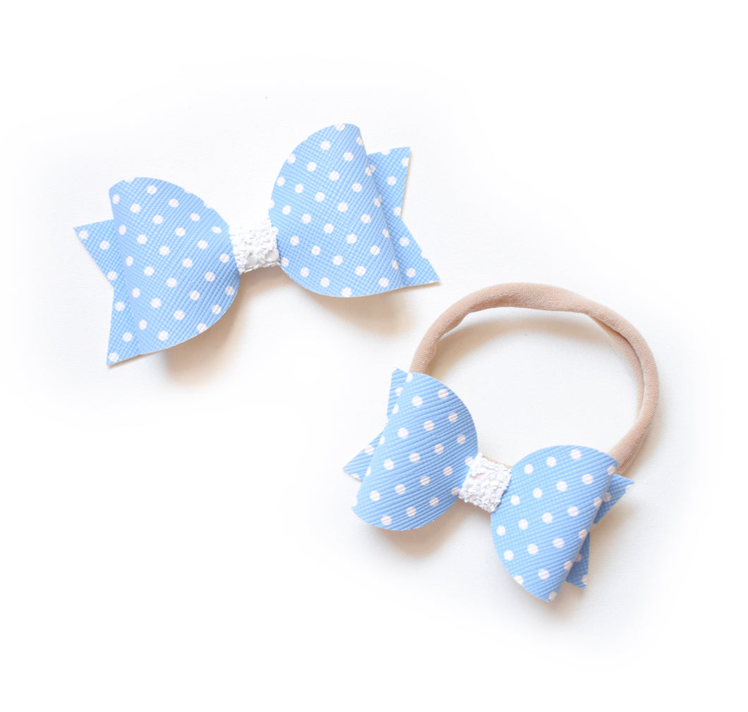 Dolly & Me- Blue Polka Dot glitter bow, leatherette bow, fringe clip, butterfly bow, personalised bow, rainbow bow, dolly hair bow, floral bow, shimmer bow, pretty bow , Bow Handmade Hairbow, handmade hair accessories, Sweet Adalyn Sweet Adalyn