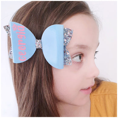 Personalised Bow- Blue glitter bow, leatherette bow, fringe clip, butterfly bow, personalised bow, rainbow bow, dolly hair bow, floral bow, shimmer bow, pretty bow , Bow Handmade Hairbow, handmade hair accessories, Sweet Adalyn Sweet Adalyn