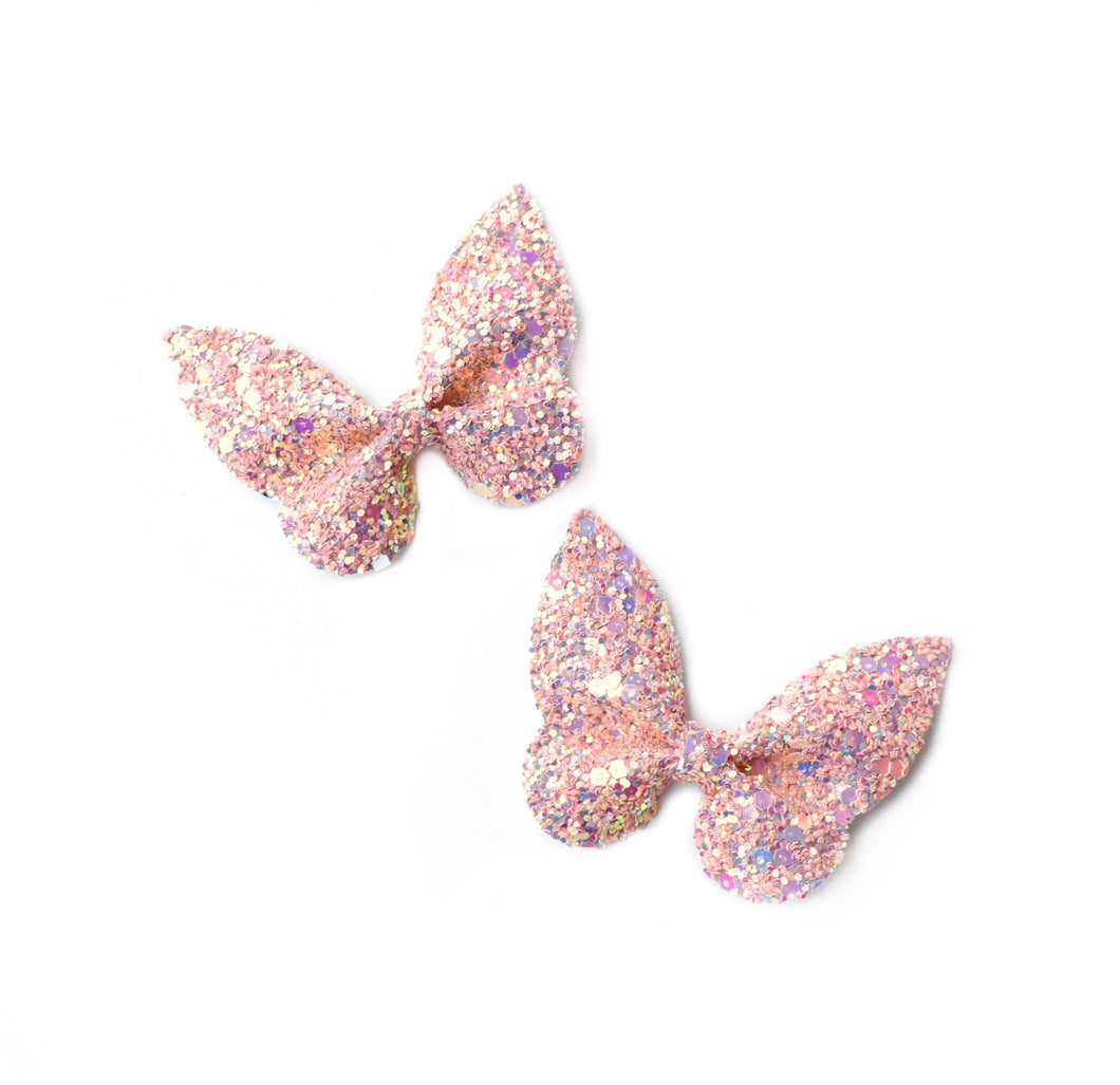 Holly Pigtail Set- Peach Glitter