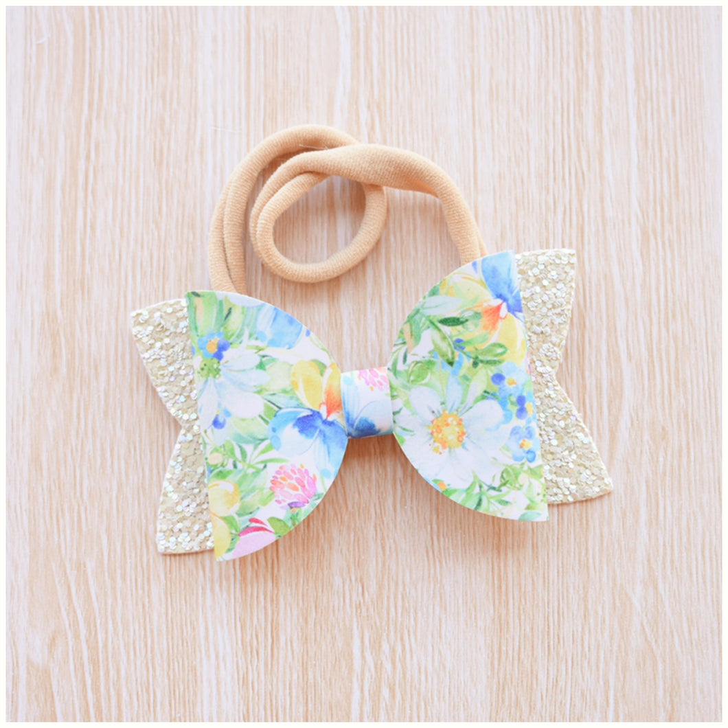 Floral Garden glitter bow, leatherette bow, fringe clip, butterfly bow, personalised bow, rainbow bow, dolly hair bow, floral bow, shimmer bow, pretty bow , Bow Handmade Hairbow, handmade hair accessories, Sweet Adalyn Sweet Adalyn