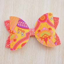 Tula Pink- Bee Marigold glitter bow, leatherette bow, fringe clip, butterfly bow, personalised bow, rainbow bow, dolly hair bow, floral bow, shimmer bow, pretty bow , Bow Handmade Hairbow, handmade hair accessories, Sweet Adalyn Sweet Adalyn