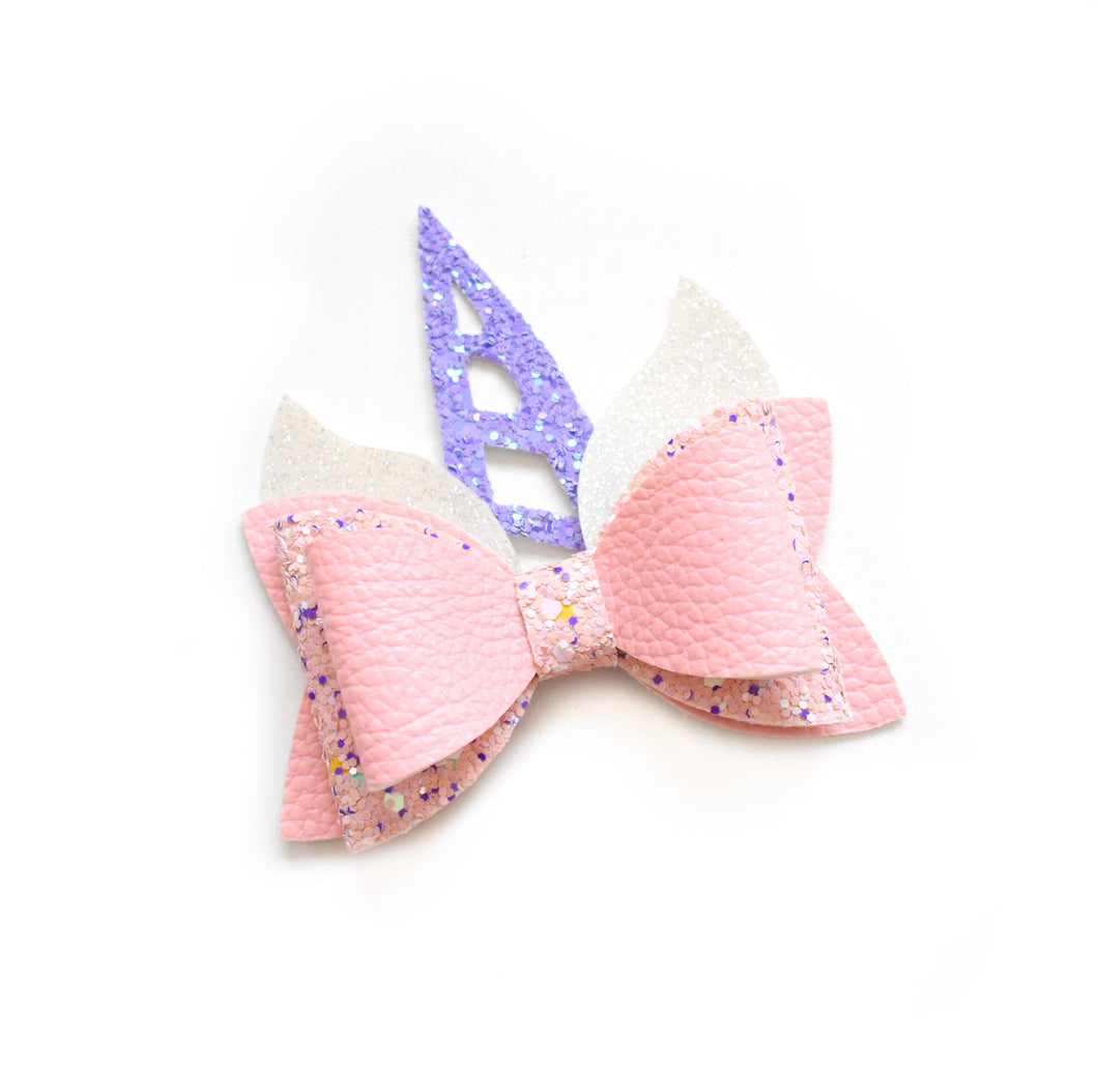 Unicorn- Pink/Purple glitter bow, leatherette bow, fringe clip, butterfly bow, personalised bow, rainbow bow, dolly hair bow, floral bow, shimmer bow, pretty bow , Bow Handmade Hairbow, handmade hair accessories, Sweet Adalyn Sweet Adalyn