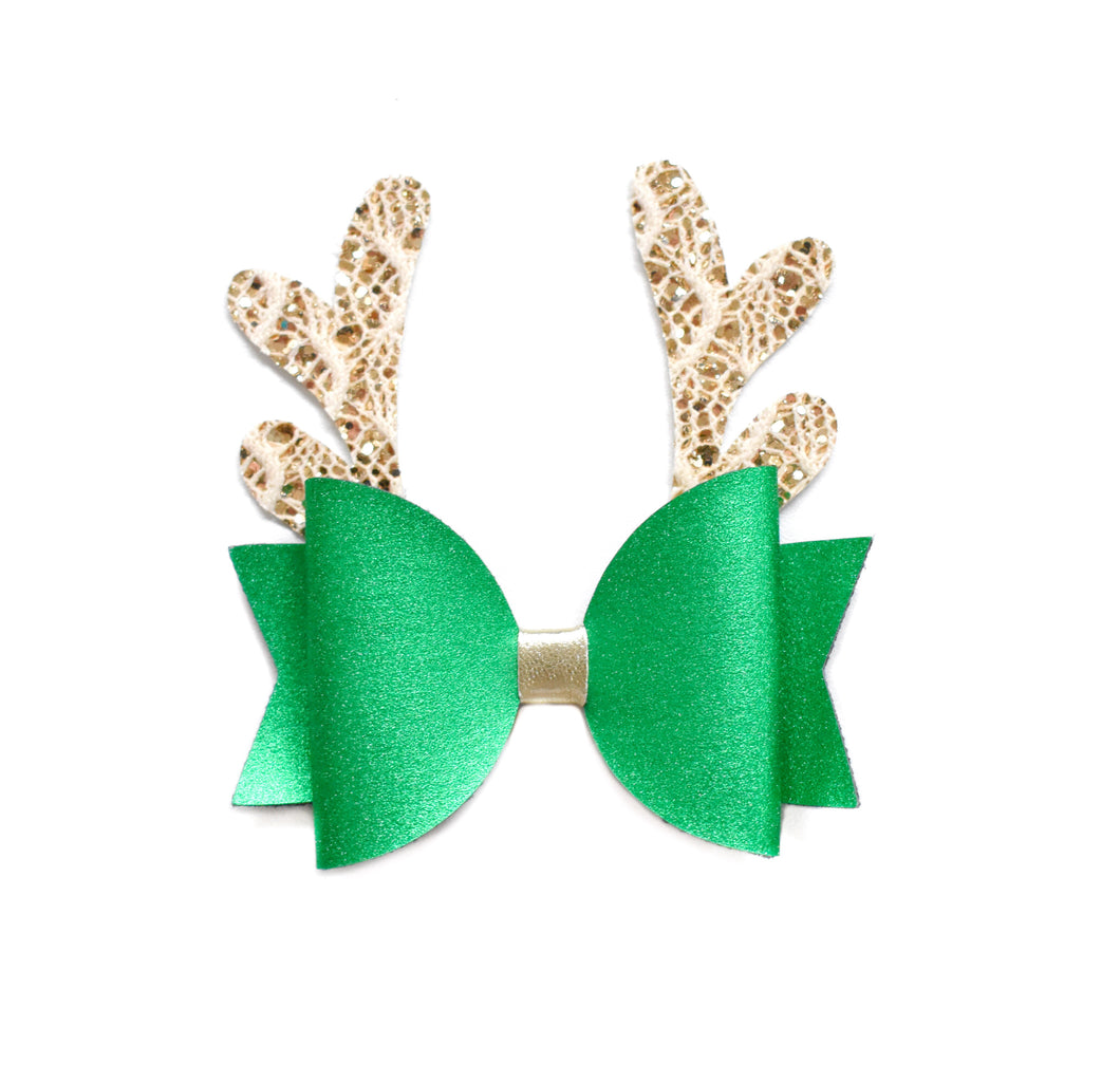 Green Reindeer Bow