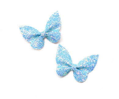 Holly Pigtail Set- Blue Glitter glitter bow, leatherette bow, fringe clip, butterfly bow, personalised bow, rainbow bow, dolly hair bow, floral bow, shimmer bow, pretty bow , Bow Handmade Hairbow, handmade hair accessories, Sweet Adalyn Sweet Adalyn