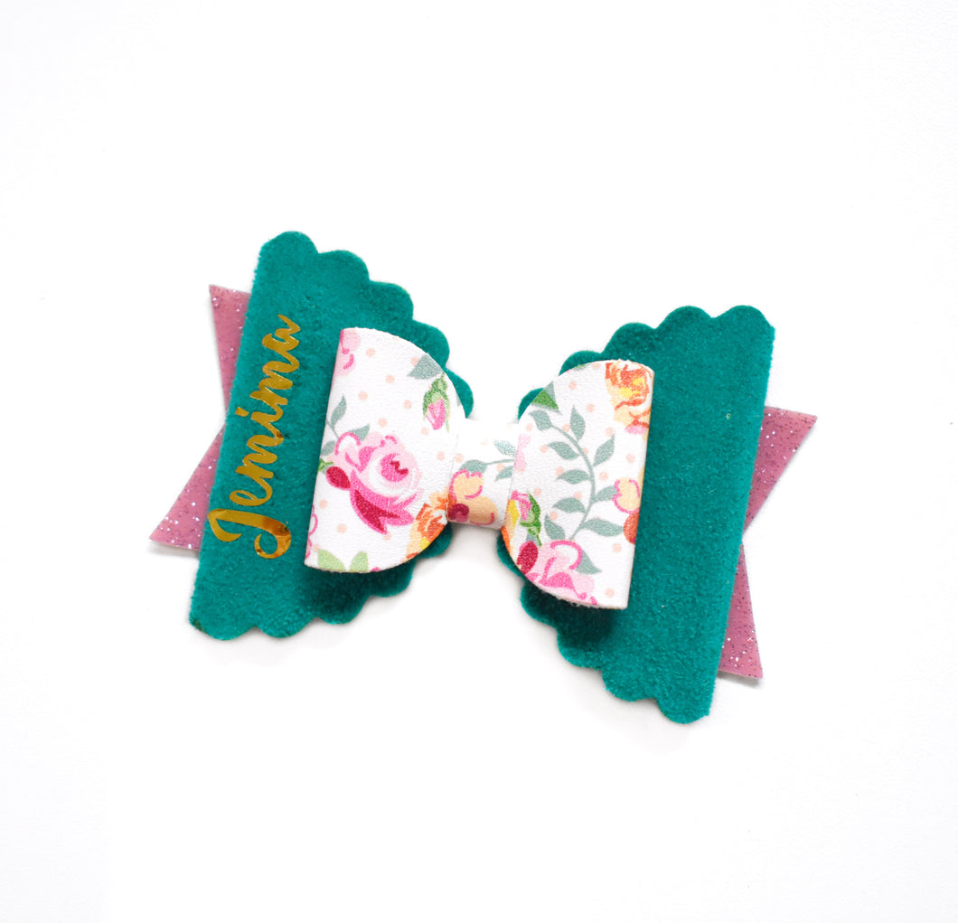 Personalised Bow- Green glitter bow, leatherette bow, fringe clip, butterfly bow, personalised bow, rainbow bow, dolly hair bow, floral bow, shimmer bow, pretty bow , Bow Handmade Hairbow, handmade hair accessories, Sweet Adalyn Sweet Adalyn