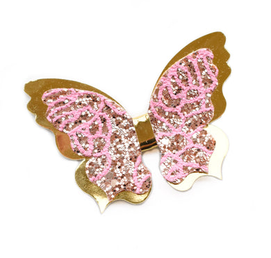 Freya-Pink/ Gold glitter bow, leatherette bow, fringe clip, butterfly bow, personalised bow, rainbow bow, dolly hair bow, floral bow, shimmer bow, pretty bow , Bow Handmade Hairbow, handmade hair accessories, Sweet Adalyn Sweet Adalyn