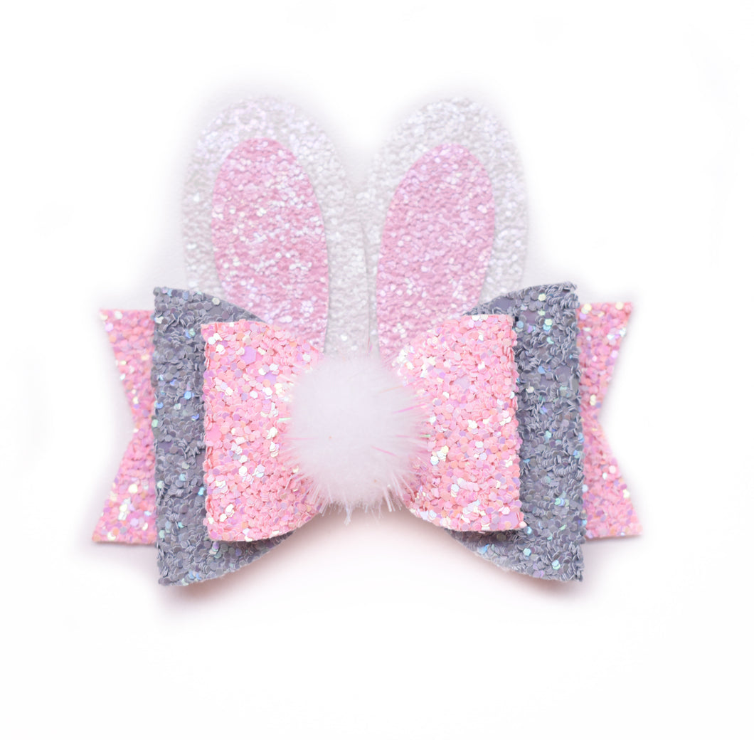 Pink Bunny glitter bow, leatherette bow, fringe clip, butterfly bow, personalised bow, rainbow bow, dolly hair bow, floral bow, shimmer bow, pretty bow , Bow Handmade Hairbow, handmade hair accessories, Sweet Adalyn Sweet Adalyn
