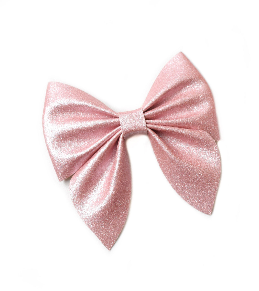Sailor- Pearl Pink glitter bow, leatherette bow, fringe clip, butterfly bow, personalised bow, rainbow bow, dolly hair bow, floral bow, shimmer bow, pretty bow , Bow Handmade Hairbow, handmade hair accessories, Sweet Adalyn Sweet Adalyn