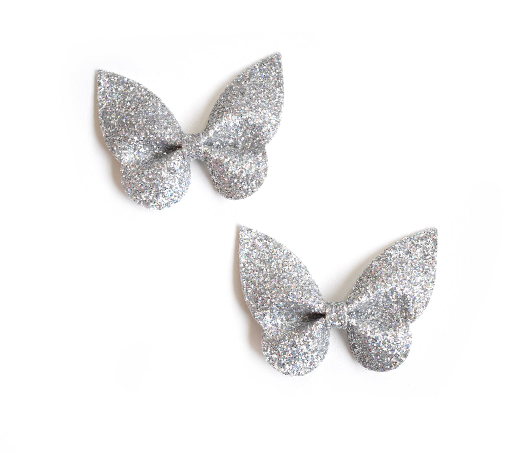 Holly Pigtail Set- Silver Glitter