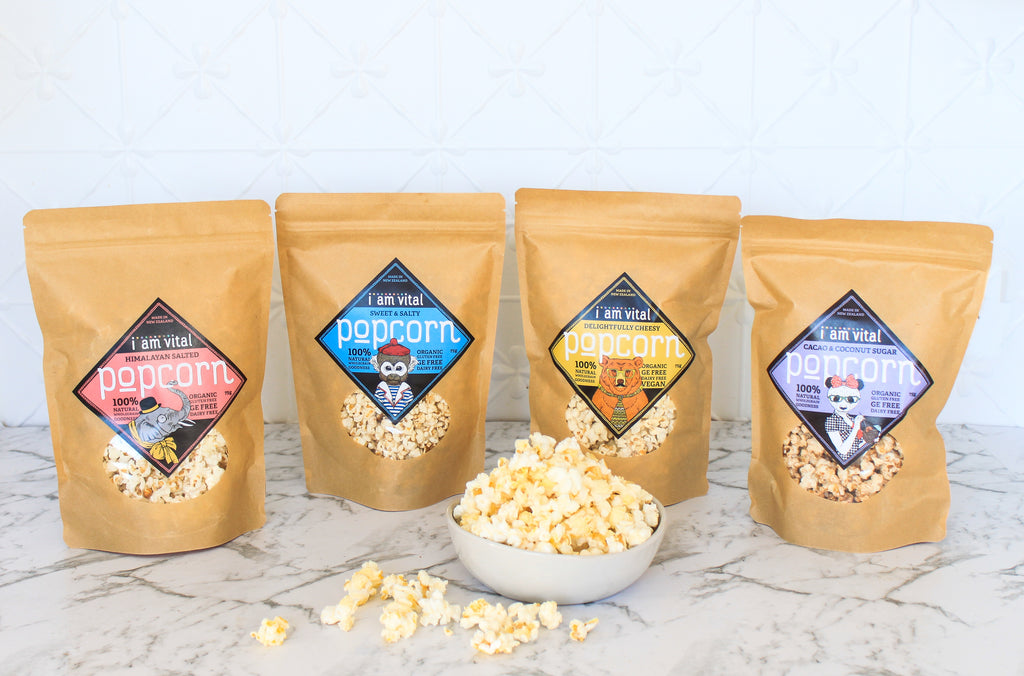 Mixed four pack of popcorn - one of each flavour