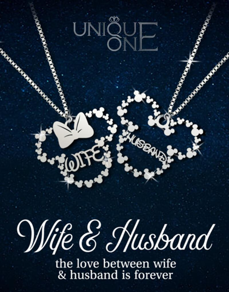 06f383f73b Wife & Husband Couple Sterling Silver Necklace Handmade