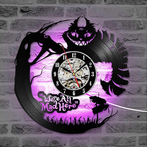 Alice In Wonderland Vinyl Record Clock