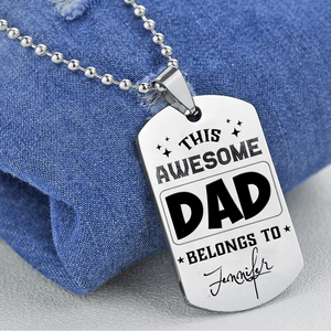 Custom Your Necklace, Awesome Dad, Enter Your Kids Name Below