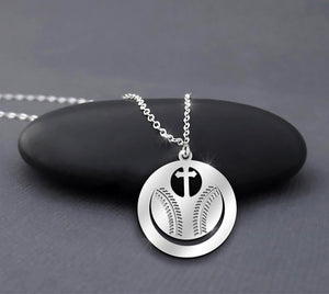Baseball Cross - Faith Prayer - Sport Medal Sterling Silver Necklace