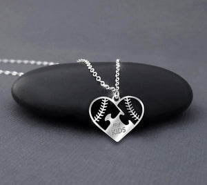 Baseball Mom Softball Necklace with Heart Charm Sterling Silver