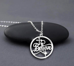 Believe - In Jesus We Trust In Circle Necklace
