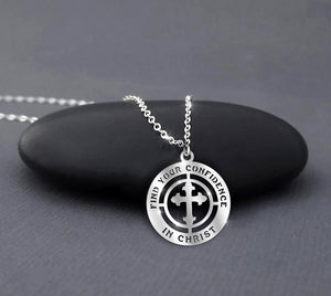 Find your confidence in Christ - Jesus our God - Religion Sterling Silver Necklace