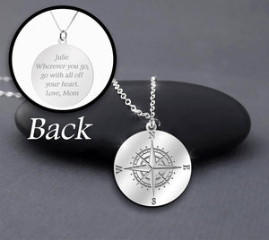 Compass Inspired Mom Sayings Sterling Silver Personalized Necklace