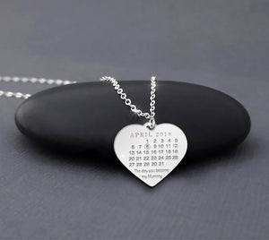 Custom Calendar Necklace Sterling Silver The Day You Became My Mummy Mother's Day Gift