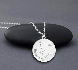 Custom Name Aquarius Zodiac Necklace Sterling Silver Zodiac Aquarius Jewelry Gift Necklace For Aquarius