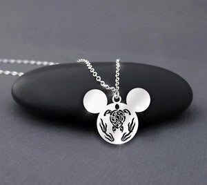 Turtle Mickey Mouse Sterling Silver Disney Necklace