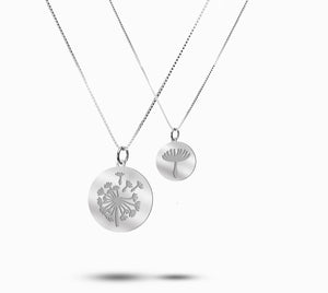 Dandelion Mother Daughter Silver Necklace