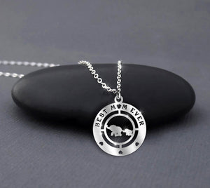 Elephant Best mom ever - Sterling Silver Necklace
