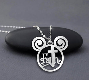 Faith Jesus Cross Disney Mickey Necklace