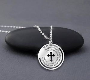 Father Daughter Necklace - Silver Cross Engraved Pendant From Dad