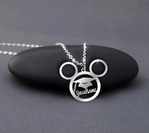 Graduation Cap Gown - Custom Name Mickey Necklace