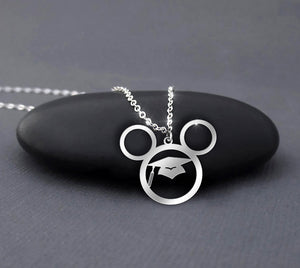Graduation Cap Gown Mickey Necklace