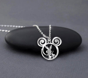 Halloween Playboy Bunny Calling Sterling Silver Necklace