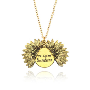 """YOU ARE MY SUNSHINE""- SUNFLOWER NECKLACE (GOLD COLOR)"