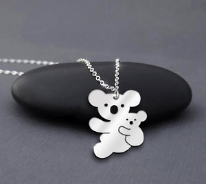 Koala Necklace Sterling Silver Mother and Baby Koala Necklace Mother Daughter Cute Animal Necklace Australian Animal Necklace