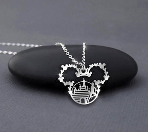 Castle and Mickey running 26.2 - Disney Marathon Calling Necklace