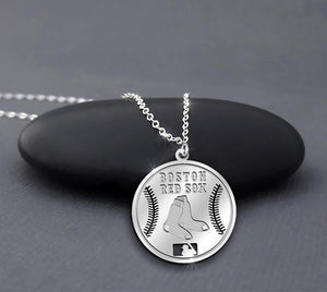 Mlb Boston Red Sox Baseball Shape Sterling Silver Necklace