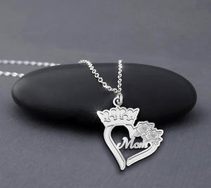Mom Heart With Crown And Rose Sterling Silver Necklace